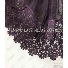 Populaire charmant de bonne qualité style musulman dentelle coton large foulard châle hijab