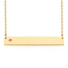 Custom Engraved Stainless steel Rose Gold Gold Sliver Plated Birthstone Bar Necklace