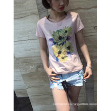 Summer Flower Embroidered Pink Lovely Camiseta de mujer