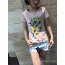 Summer Flower Embroidered Pink Lovely Women T-Shirt