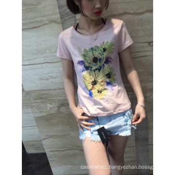 Summer Flower Embroidered Pink Lovely Women T-Shirt