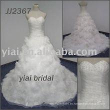 JJ2367 Hecho a mano flores vestido de novia vestido de novia sin tirantes vestido de bola 2013
