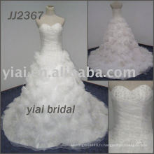 JJ2367 Fleurs faites à la main robe de bal sweetheart robe de mariée sans bretelles 2013