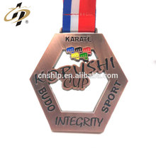 Shuanghua factory custom metal karate sports medallion and medal