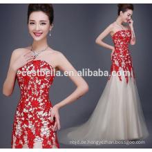 Trägerloses süßes Herz-Hals-rotes weißes gemischtes Meerjungfrau-Abend-Kleid-reizvolles Dame-Abend-Kleid-schickes spezielles Gelegenheits-Kleid