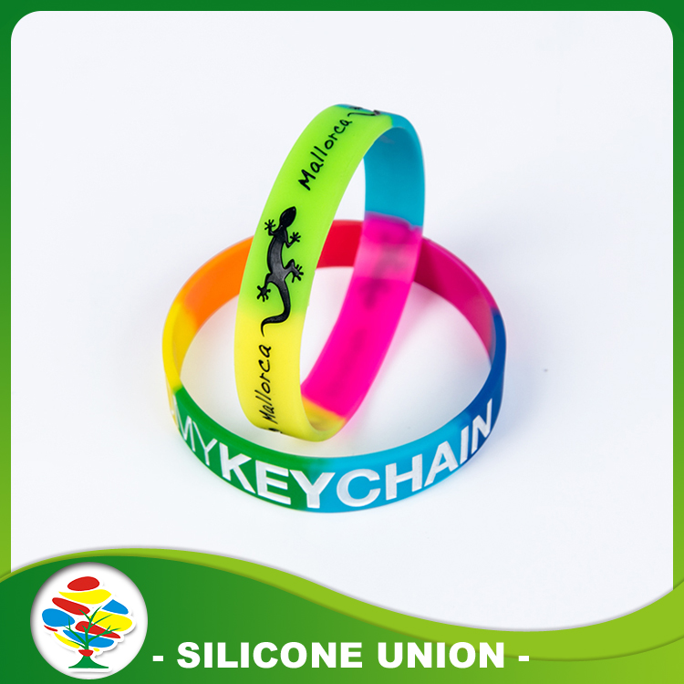 silicone debossed with color fill bracelet