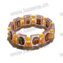 New Style Gold Catholic Epoxy Saint Image Plastic Rosary Bracelet