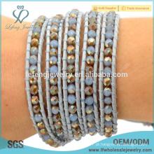 Hot venda acessórios jóias multi wrap pulseira pulseira de couro de cristal