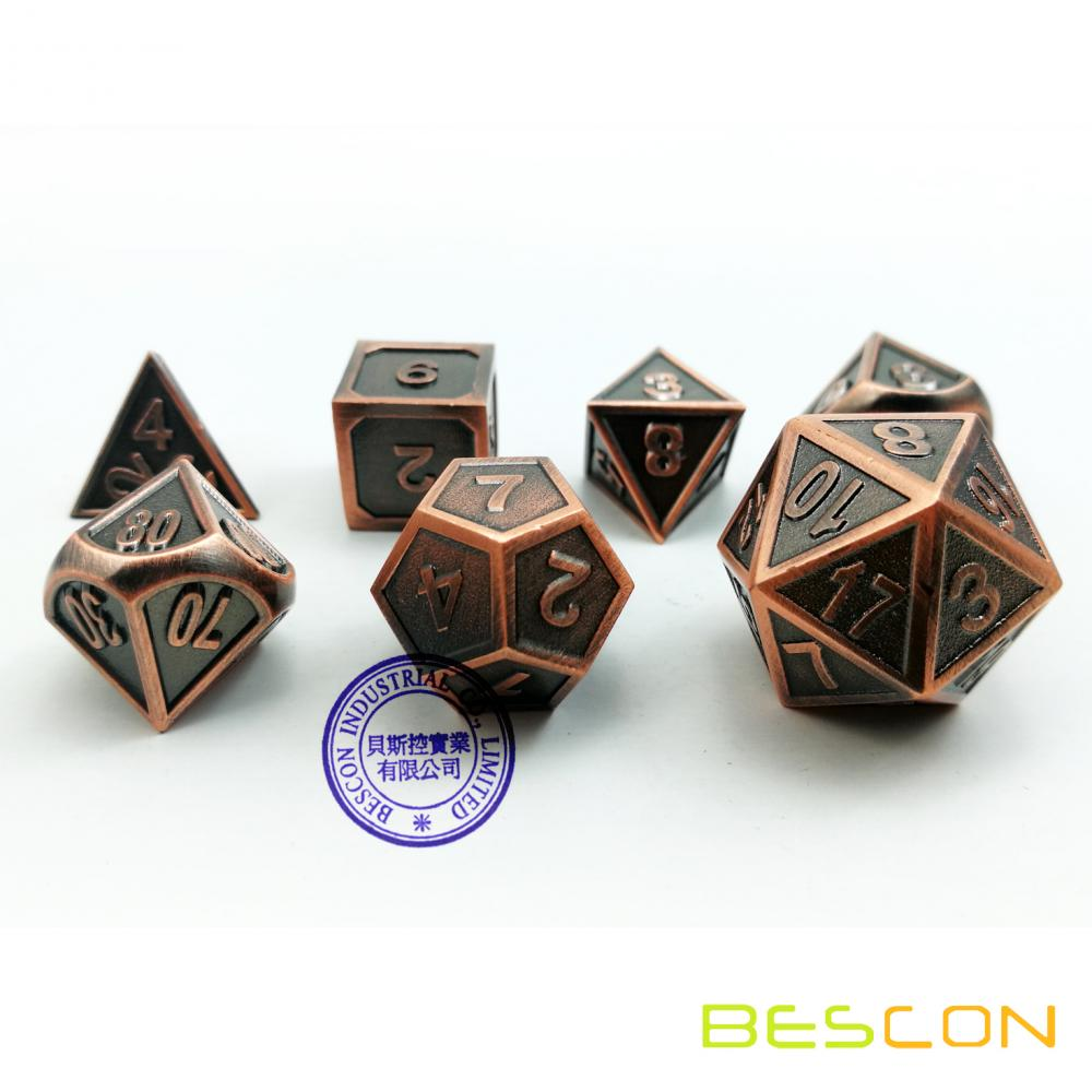 Bescon New Style Copper Solid Metal Polyédrale D & D Dice Set de 7 cuivre métallisé RPG Role Playing Game Dice 7pcs Set D4-D20