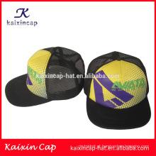Alta qualidade colocar o seu próprio logotipo personalizado plana brim chapéus do camionista