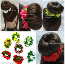 Fleurs et feuilles Bracelet à cheveux floraux Bun Garland (HEAD-103)