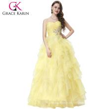 Grace Karin sin tirantes fuera del hombro de organza vestido de bola largo Western Quinceanera vestido para la hija CL3411-2