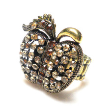 Fashion Rhinestone Apple Ring, antique gold plated metal alloy apple shape Stretch Ring