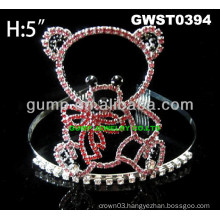 cheap rhinestone bear tiara crown -GWST0394