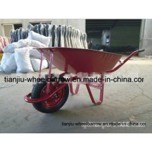 Carretilla para servicio pesado con rueda neumática individual y bandeja de metal Wb6411