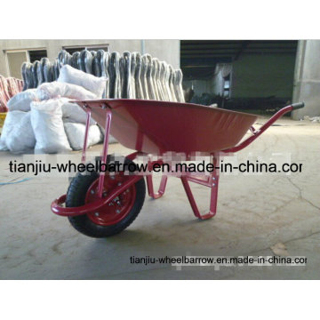 Carrinho de mão resistente com uma única roda pneumática e bandeja de metal Wb6411