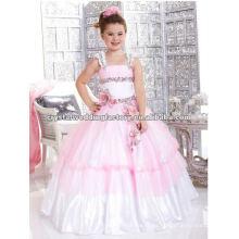 La nueva llegada rebordeó el vestido de encargo rosado appliqued rosado del desfile de la muchacha de flor del vestido de bola CWFaf4645