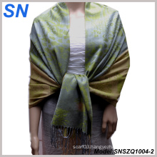 2014 Fashion Two-Toned Jacquard Pattern Satin Paisley Shawl