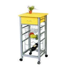 Kitchen trolley, steel tube frame, MDF table top & basket