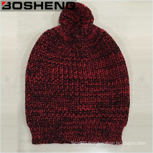 Women′s Winter Red Black Knitted Beanie Hat with POM