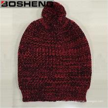 Mulheres inverno vermelho preto malha Beanie Hat com POM