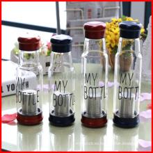 Botella de agua al aire libre del caballero botella de la infusión del té de la coctelera Botella de cristal del infuser del té