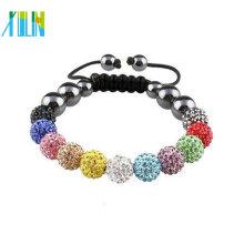 Cheap pulsera de cordón de moda con cuentas de shamballa XLSBL042