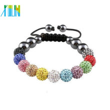 Cheap Fashion cord Bracelet with shamballa beads XLSBL042