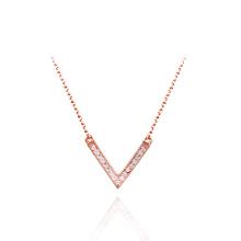 De alta qualidade em forma de V colar de pingente de diamante falso diamante colar de zircônia cúbica