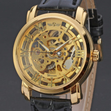high gloss watch case winner skeleton men watch