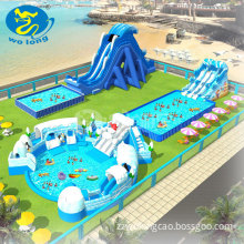 water slide play equipment aqua park giant inflatable water park