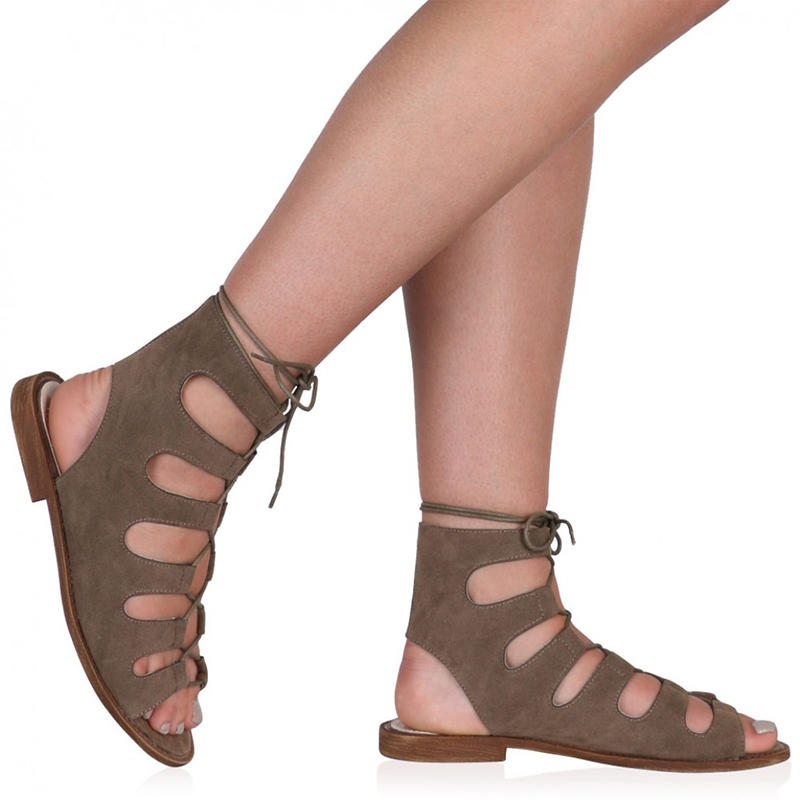 Short flat heel Suede Strappy girl sandals