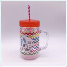 Venta al por mayor 680ml taza de café de plástico personalizable con paja