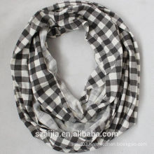 Fashion ladies jersey knit plaid infinity scarf