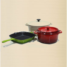 Enamel Cast Iron Cookware Set in 3PCS for European Country