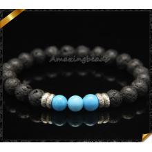 Bracelets en pierre de style nouveau avec perles de lave noire (CB0113)