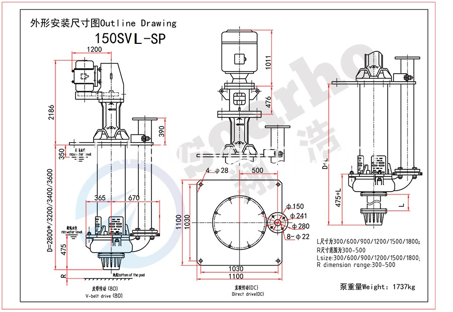 150mm Size Lenthening Sump Pump