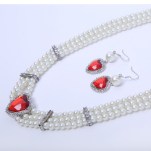 Pearl Necklace Set with Ruby Pendant