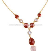 Onyx rojo y collar de plata de la gota del Vermeil del oro de la perla 925