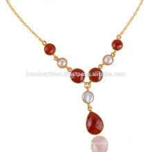 Red Onyx and Pearl 925 Silver Gold Vermeil Drop Necklace