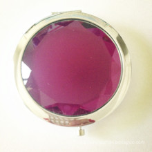 Hot Purple Crystal Metal Compact Mirror (BOX-15)