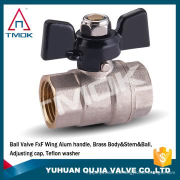 válvula de bola de latón TMOK mariposa / mango T hembra BSPP válvula de cierre de agua forjado WOG600 de diámetro completo CW617n