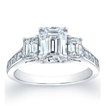 Square Emerald Channel-Set Side Stones Engagement Ring
