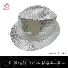 Chapéu de fedora de lantejoulas de prata F1194-a