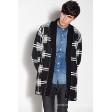 Whosale Patterned Knitted Long Men Cardigan with Zipper