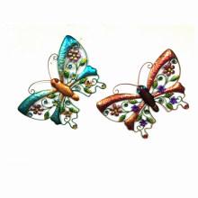 2 Asst Garten Bunte Schmetterling Metall Wand Dekoration