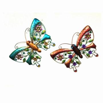 2 Asst jardín colorido mariposa decoración de pared de metal