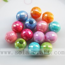 Sparking solid round faceted acrylic beads with AB color plating