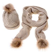 Premium barato atacado inverno quente pom pom malha chapéu e lenço conjunto