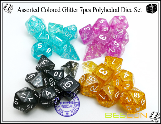 Assorted Colored Glitter 7pcs Polyhedral Dice Set-15